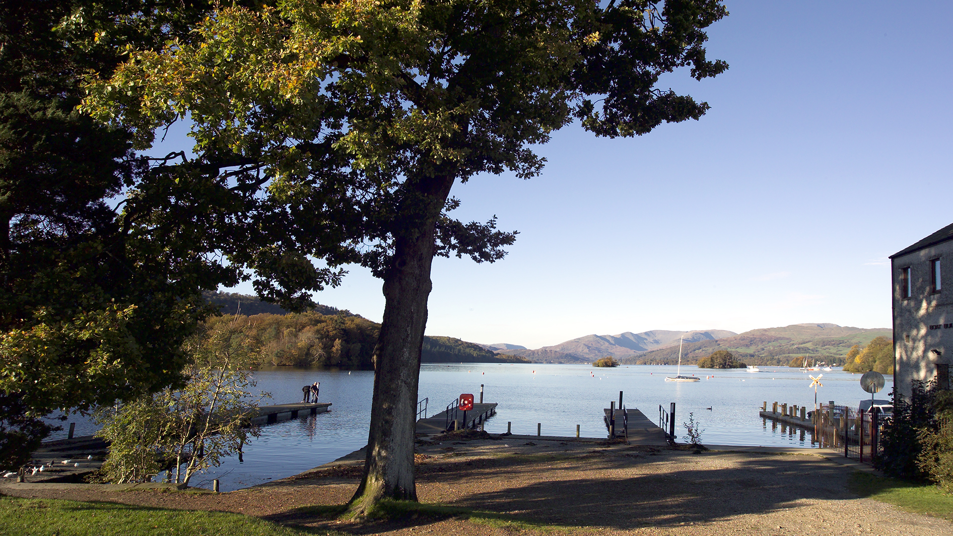 Location photograph for Lake District hotel brochure showing Windermere view from hotel groundsWindermere view north