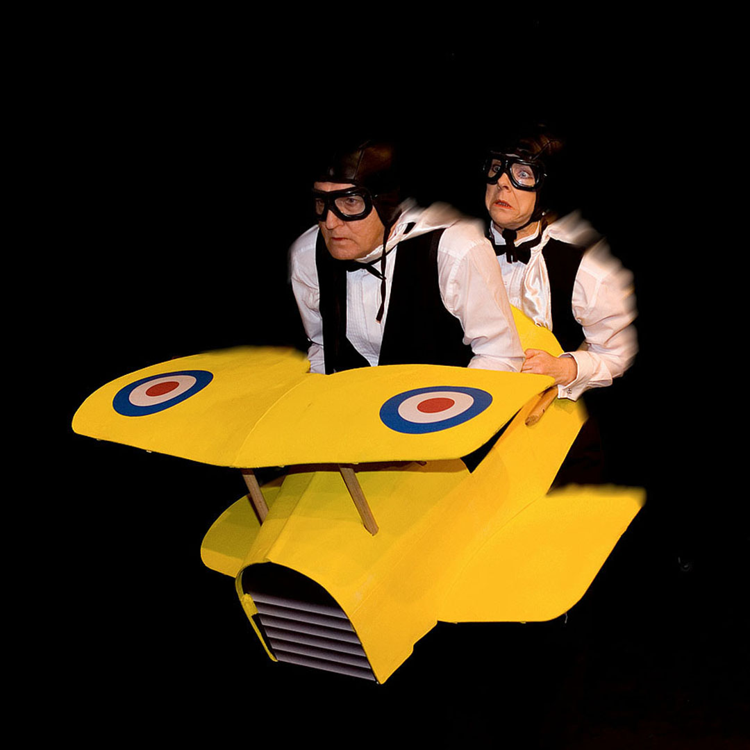 WW1 Bi-plane in Scene from the First Team Theatre production of The 39 Steps at the Old Laundry Theatre, Bowness on Windermere.