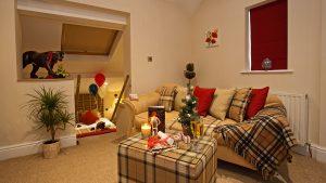 Hotel Room showing living area and sunken bedroom